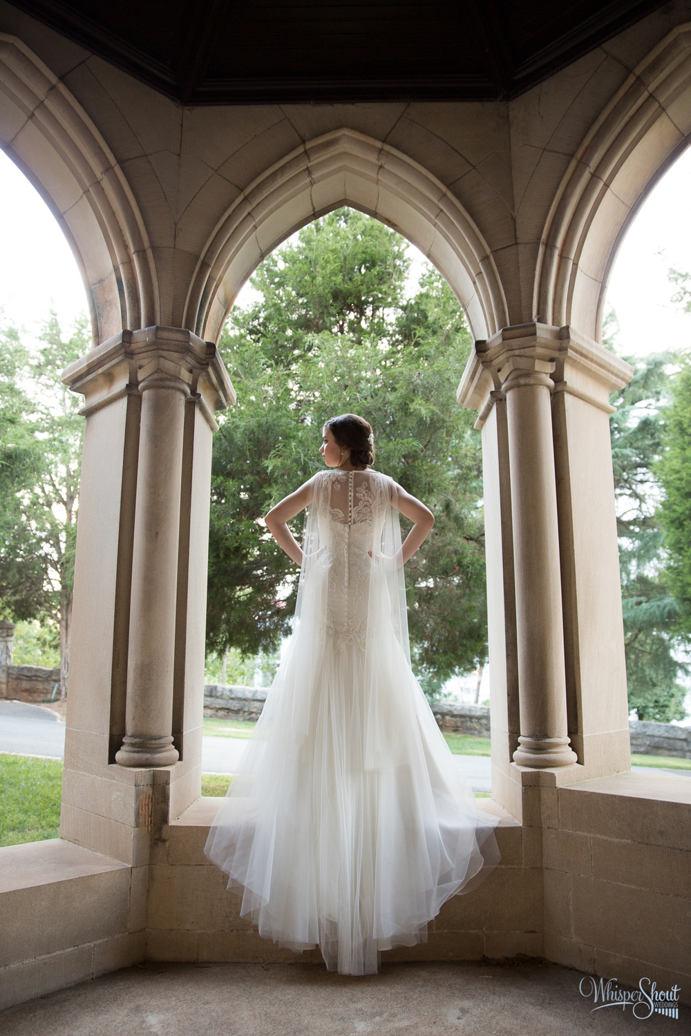 WhisperShout Weddings;  north carolina bridal session; sleeveless drop waist bridal gown with cathedral length veil.