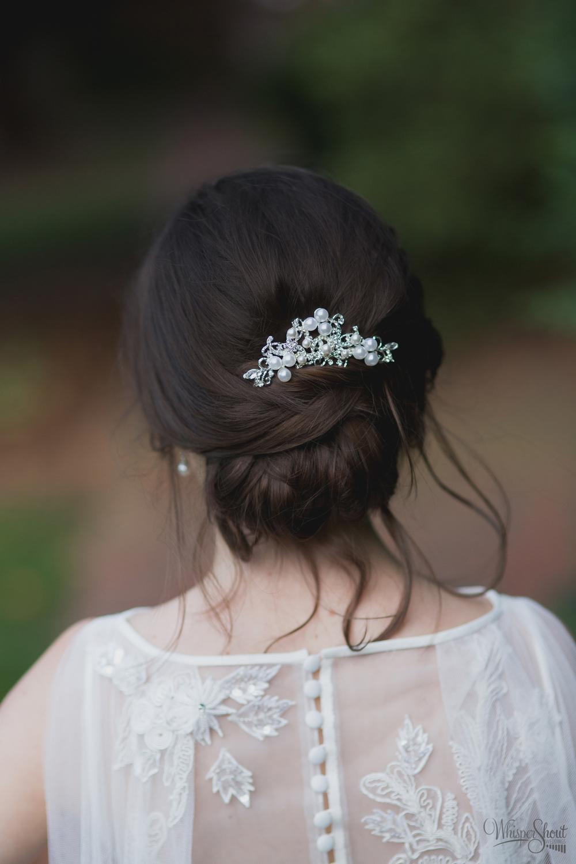 beautiful rhinestone-studded headpiece;  north carolina bridal session; WhisperShout Weddings