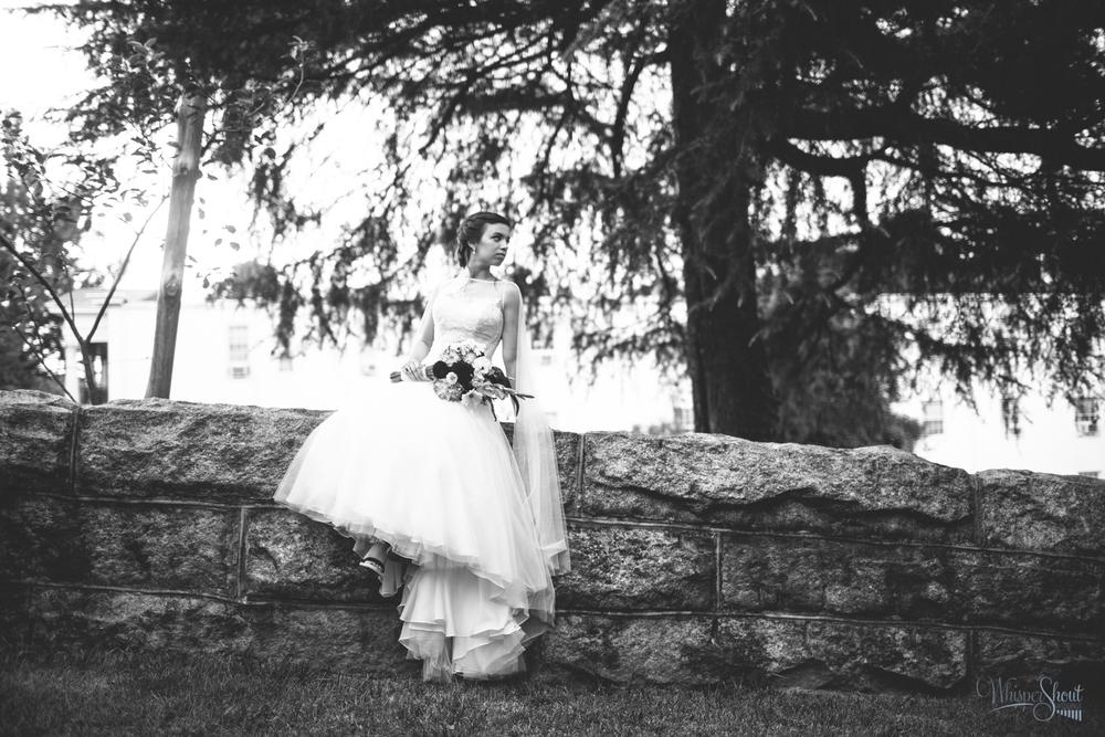 WhisperShout Weddings; North Carolina bridal session in Old Salem; black and white.