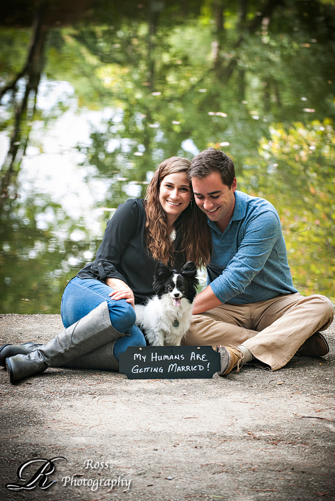 Robert Ross Photography, Greensboro NC engagement session with puppy and chalkboard sign.
