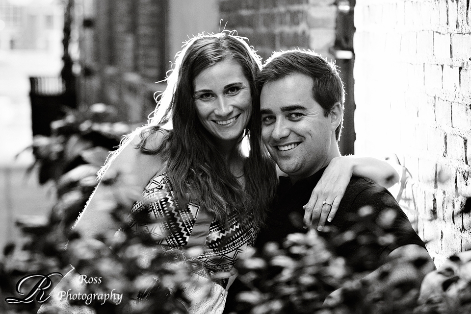 black and white engagement photography in downtown greensboro; robert ross photography.