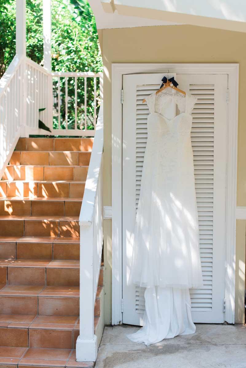 bridal details: white wedding gown. destination wedding at sandals resort, jamaica.