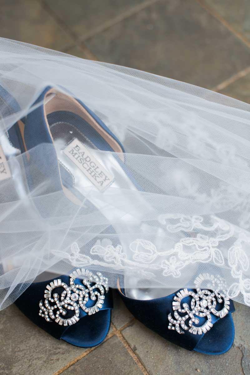 blue sapphire badgley mischka shoes at jamaican destination wedding.