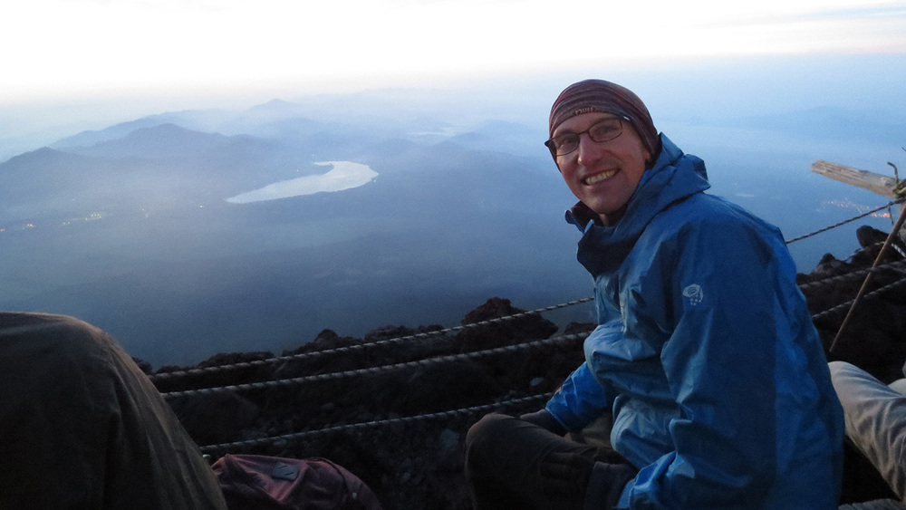 On the summit of Mount Fuji waiting for the sunrise.