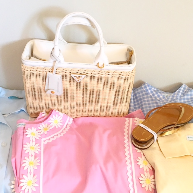 August Morgan dresses, bag, and sandals.  All you need is a swimsuit and you are good to go!