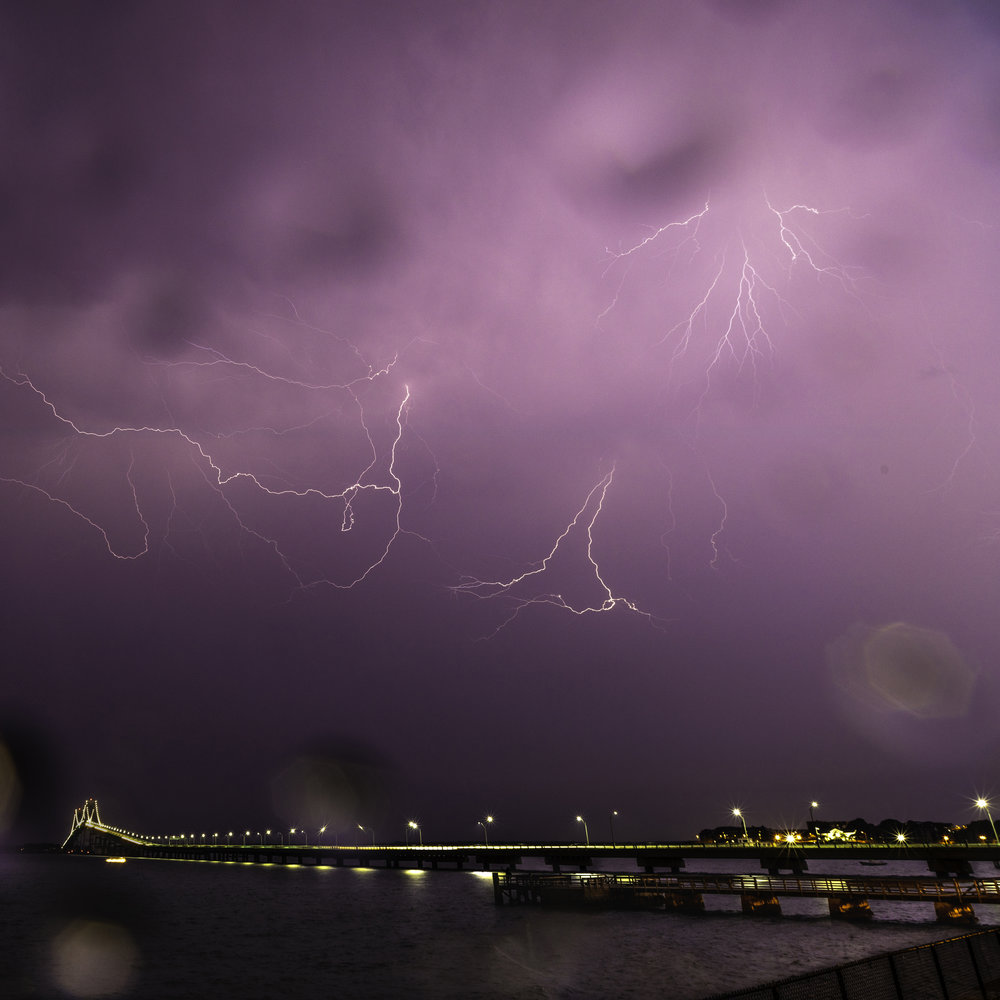 Lightning Strikes Over Newport Bridge in Rhode Island