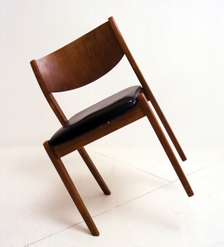 Brink , 2004 / Balanced chair, 89 x 45 x 45 cm /Installation view Max Wigram Gallery, London