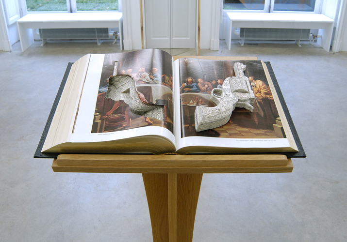 Salvation Lies Within , 2003/ Lectern and bible, 122 x 50 x 34 cm / Installation view Cosmic Galerie, Paris / Private collection
