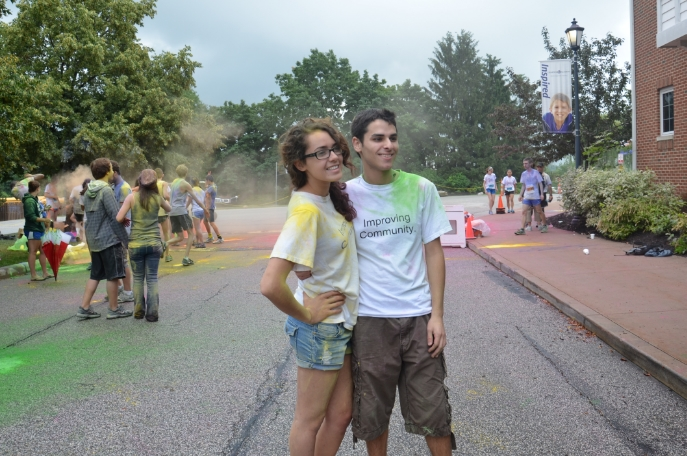 Madison and Kennedy at the end of the Rainbow Run in 2013