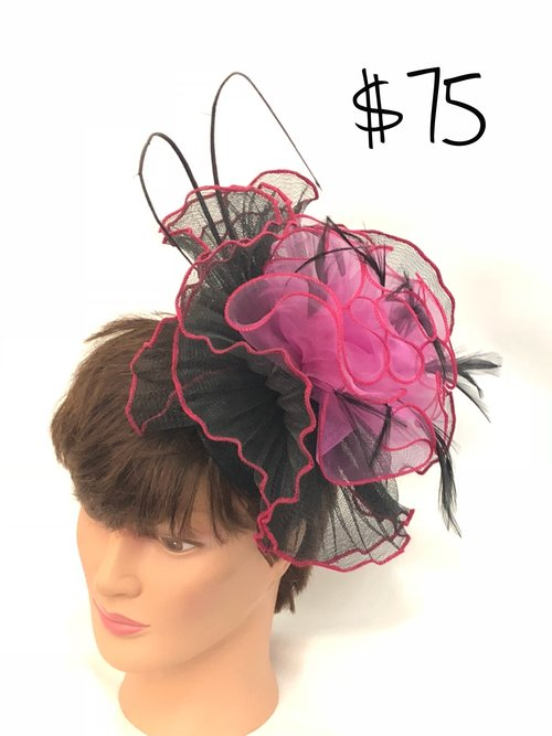 Pink and Black Ruffle Fascinator. IMG 5874.jpg 413a6f1c3f7