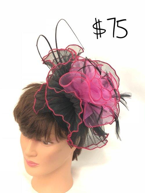 Pink and Black Ruffle Fascinator. IMG 5874.jpg 413a6f1c3f7