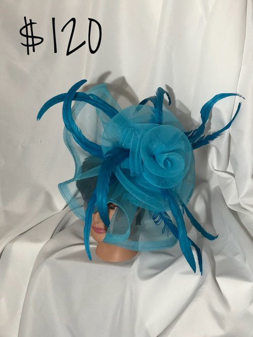 Large Turquoise Feather Fascinator — SUNNYband 1adb5a12199