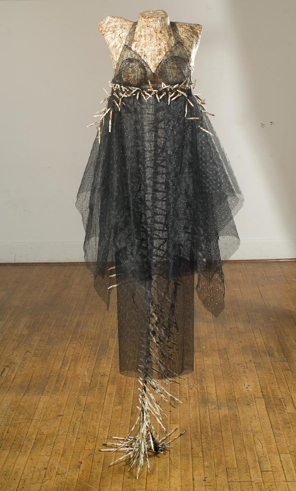 """Mars' Upper Atmosphere under Extreme Solar Wind Conditions (Dress)""   78"" x 30""; Science papers, polymer mediums, wire screening, Irish linen thread, burning;  2013-15"