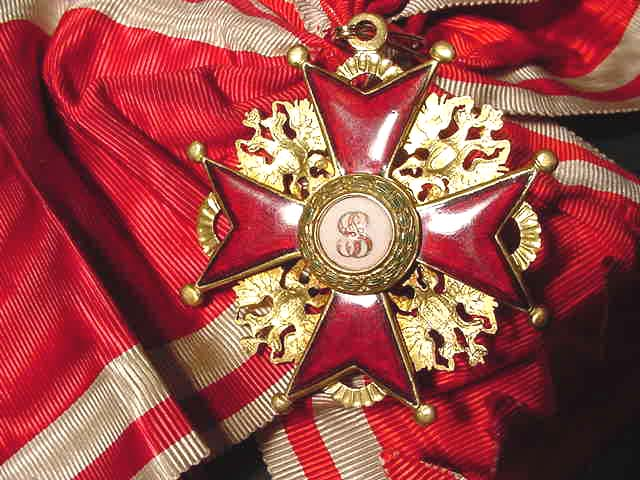 A mid-nineteenth century badge of the Order of St. Stanislas.