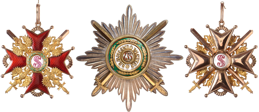 Examples of the Order of St. Stanislas with Swords, denoting an award for military service. Marked K for Keibel, ca. 1900.