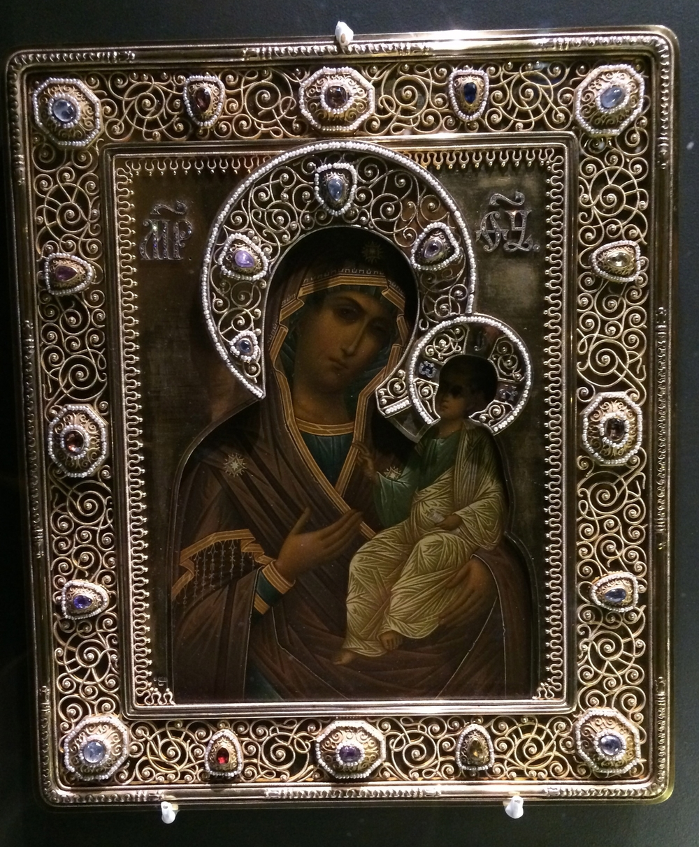 "A icon of the Iveron Mother of God with an elaborate ""Oklad,"" or icon covering, by Fabergé."