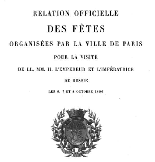 The Frontispiece of the Official report of the Imperial visit of 1896.