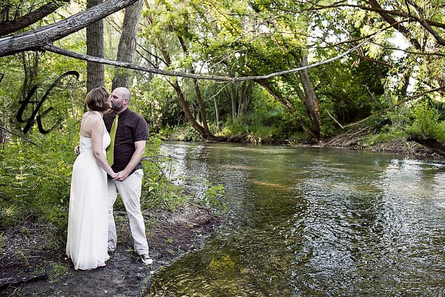 Bride and Groom near the Water - Boise Idaho Wedding Photographer