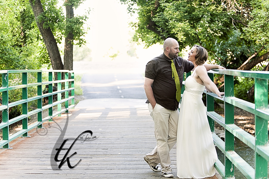 Bride and Groom on a Bridge - Boise Wedding Photography