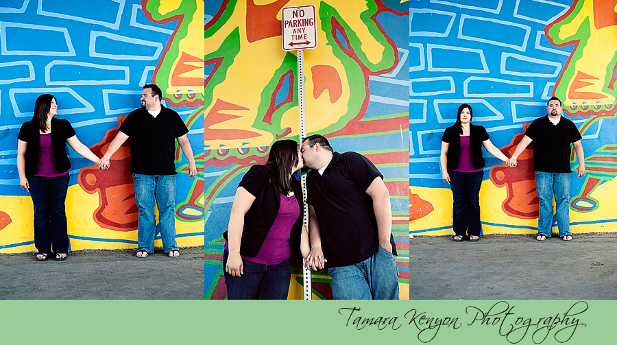 Husband and Wife with Colorful Wall - Boise Idaho Photographer