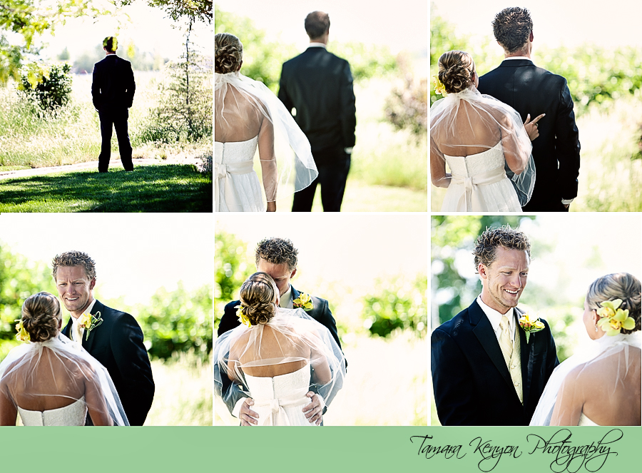 Bride and Groom First Look - Boise Idaho Wedding Photographer