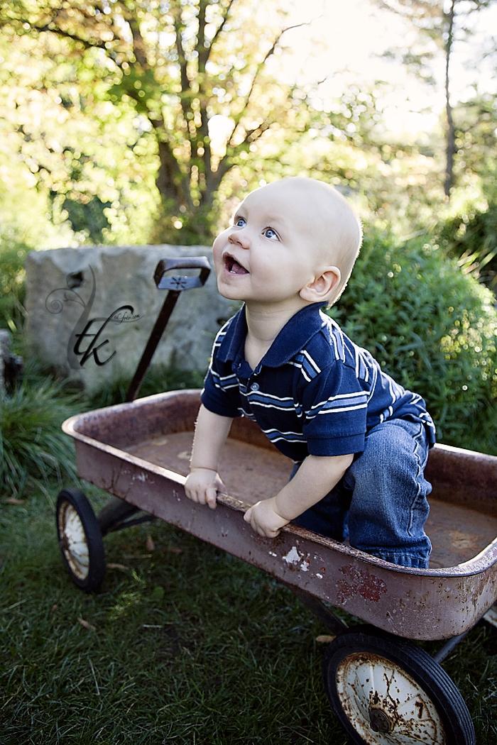 Little Boy in a Wagon - Boise Idaho Child Photographer