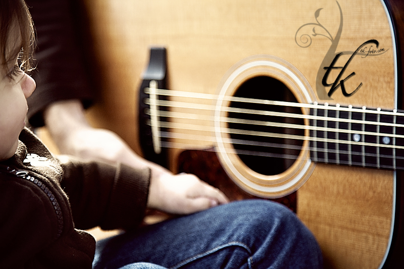 Little Boy and Guitar - Boise Idaho Child Photographer