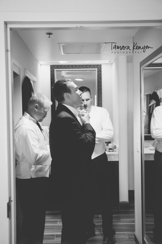 groom getting ready grove hotel