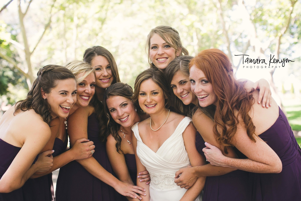 bridesmaids at julia davis park boise wedding