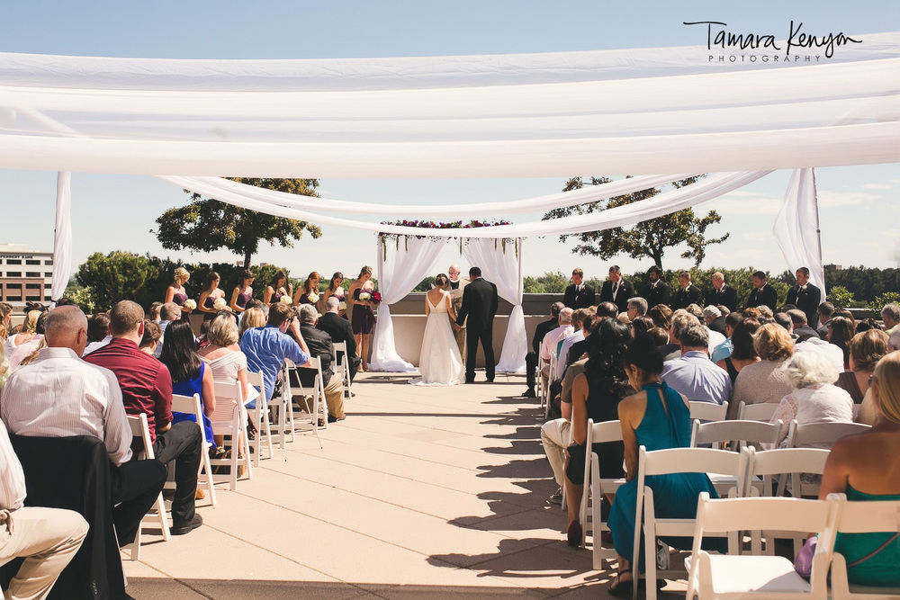 wedding ceremony on the terrace at the grove hotel