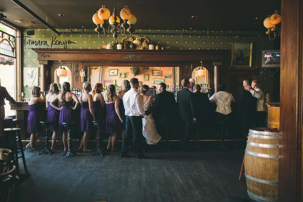 bridal party at pengillys saloon boise wedding