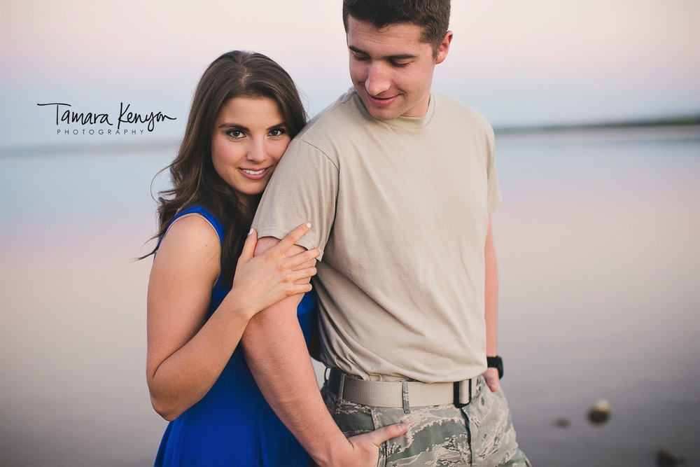 katy lootens lake lowell engagement at sunset