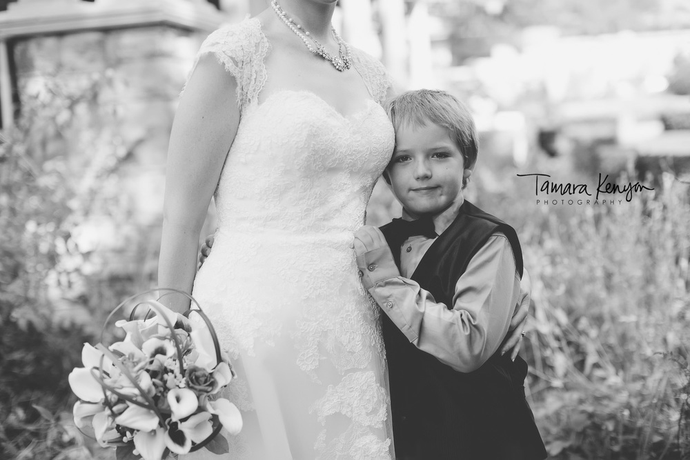 mother and son at her wedding