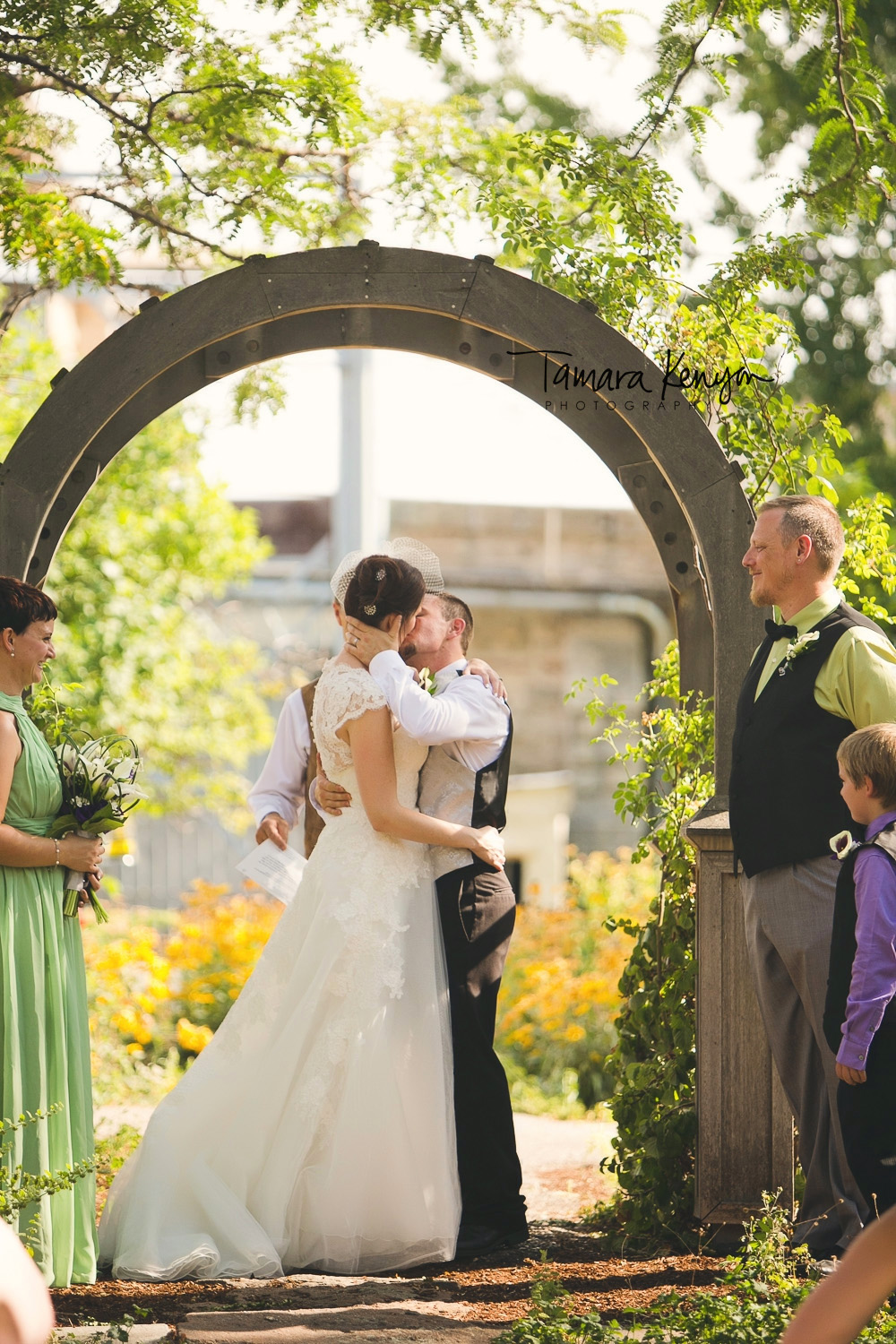 wedding ceremony at the bishops house in boise