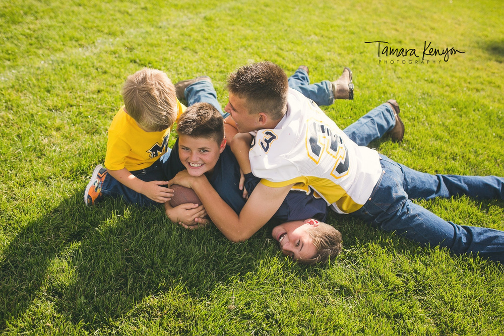 football tackle family photo