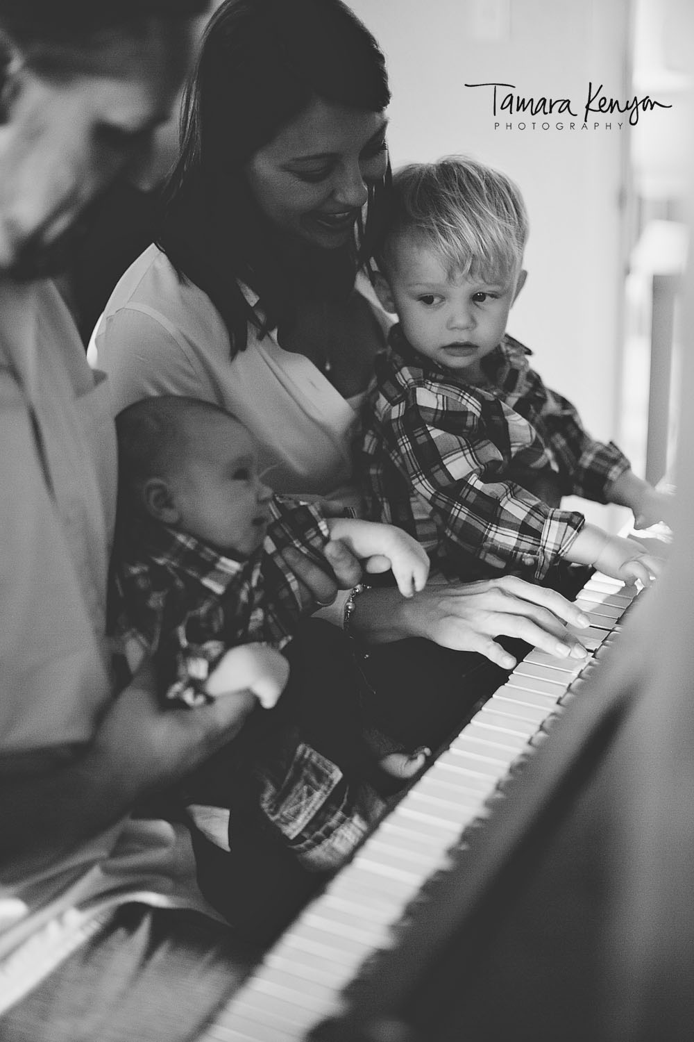 piano and guitar playing family