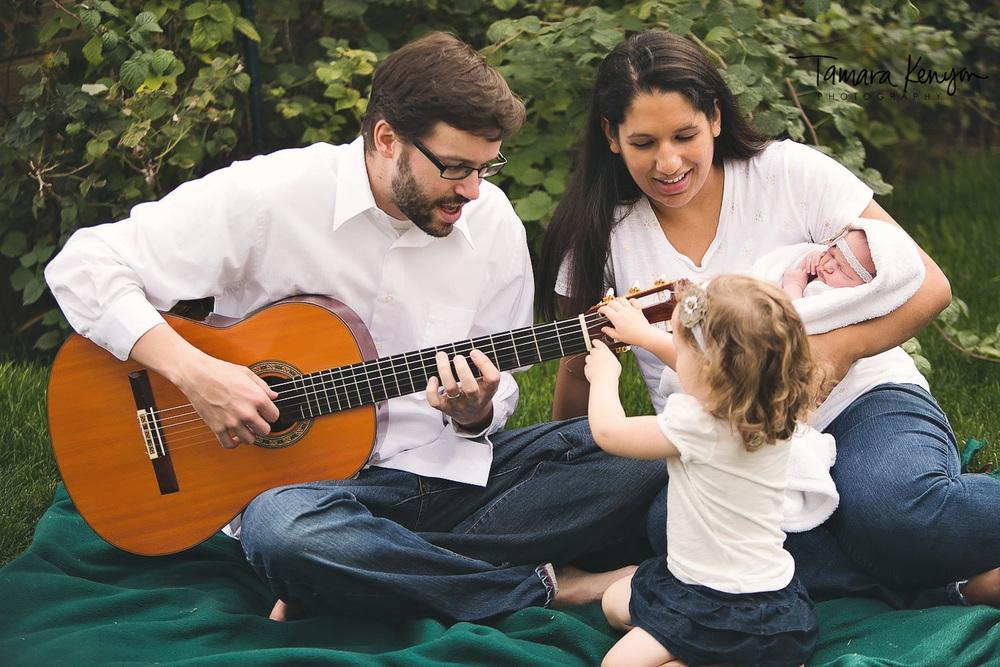 family photos in the backyard