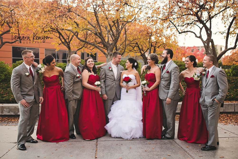 bridal party downtown boise wedding