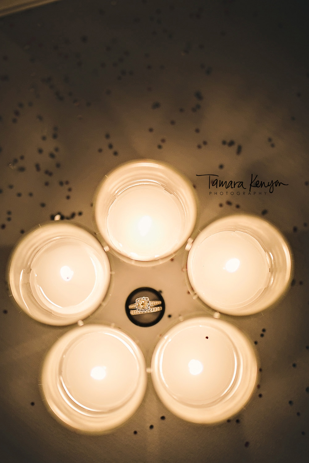 wedding ring photo with candles