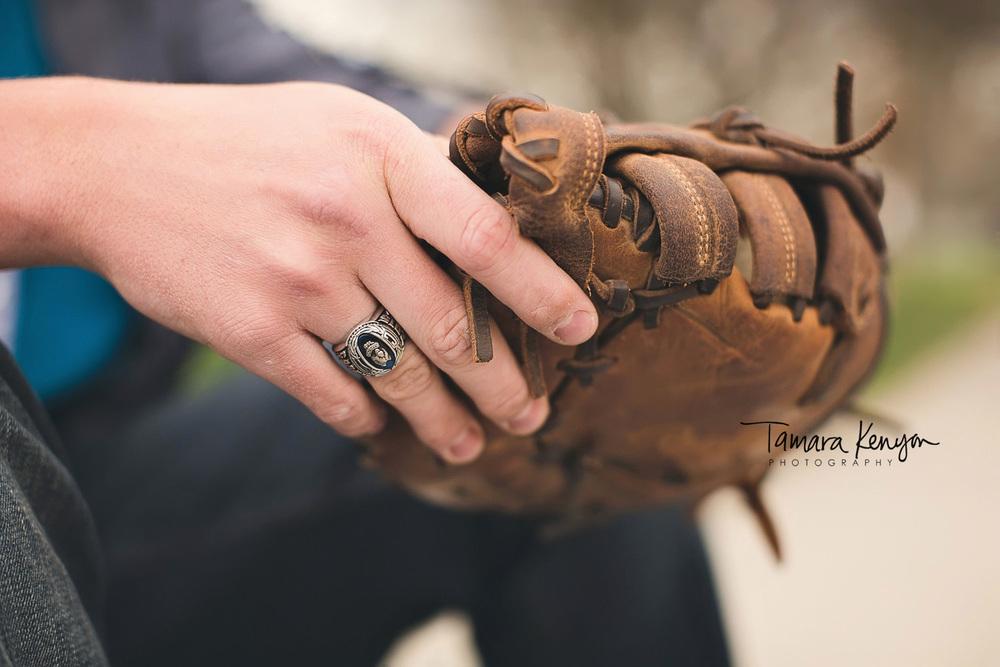 class ring and baseball mitt
