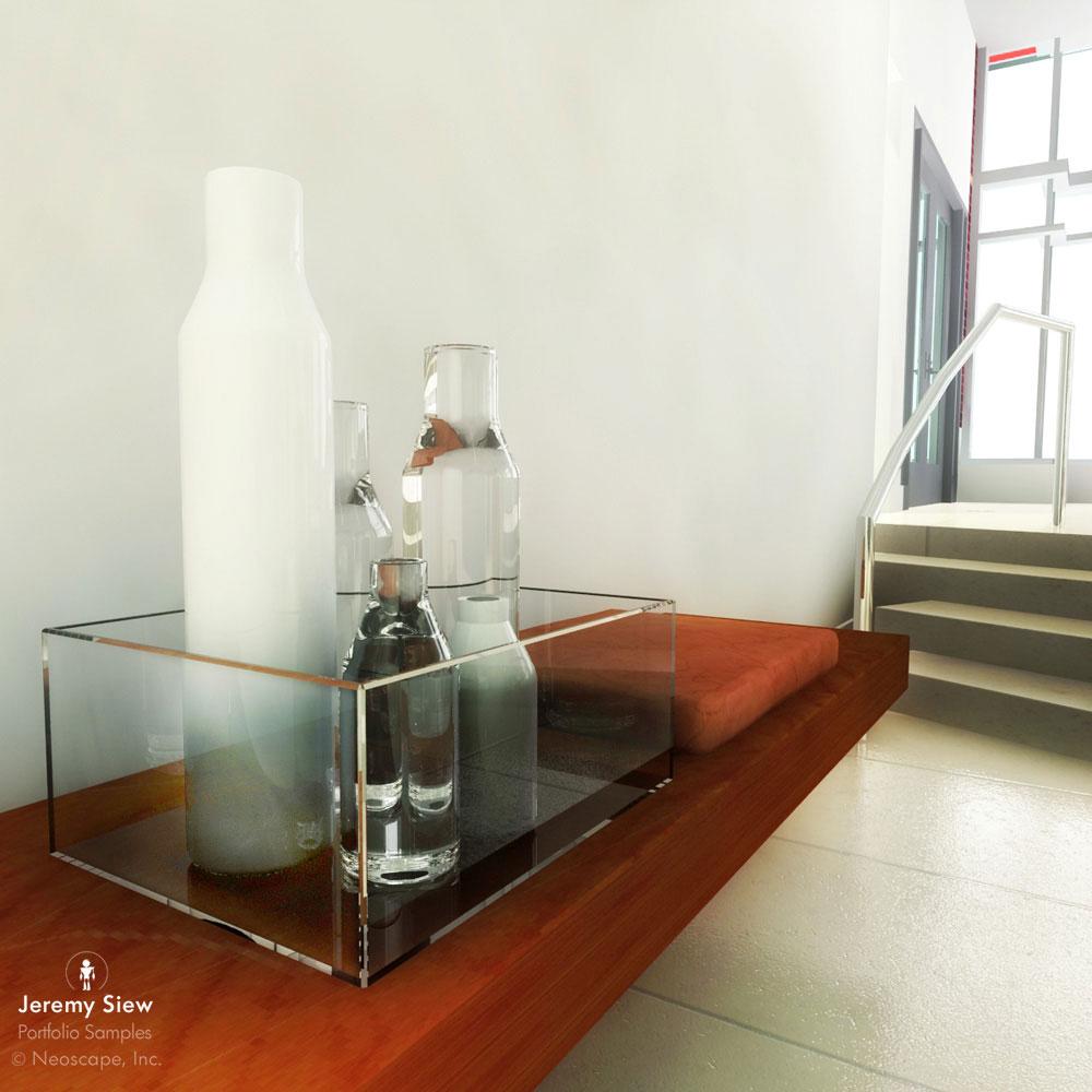 3D Acrylic Bottles Still Life