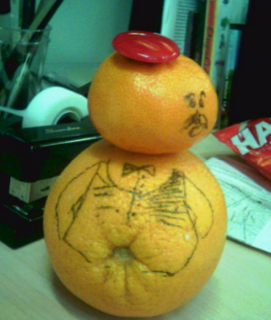 The Orange Snowman before being eaten.