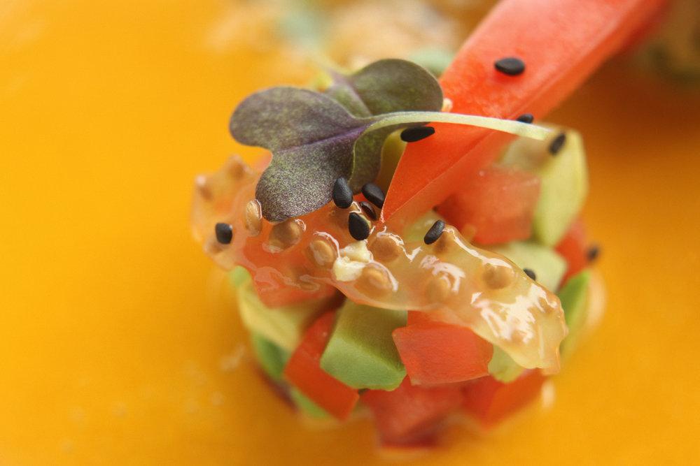Raw miso soup. Tomato avocado tartare. Sesame