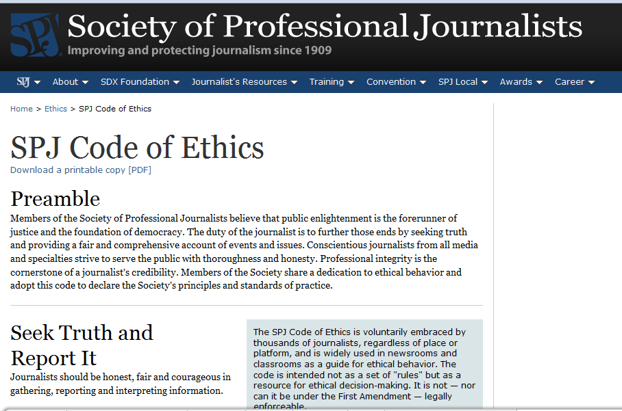 SPJ Ethics screenshot