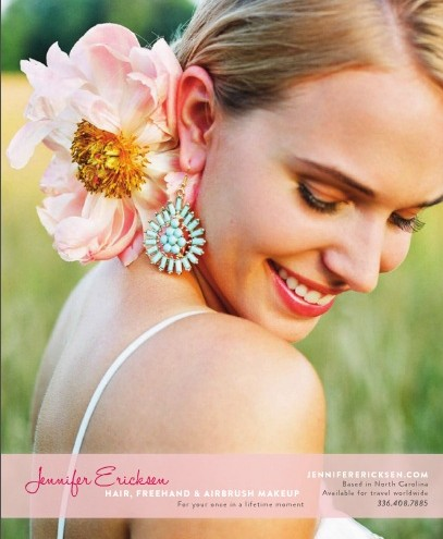 SW peach flower and teal earring