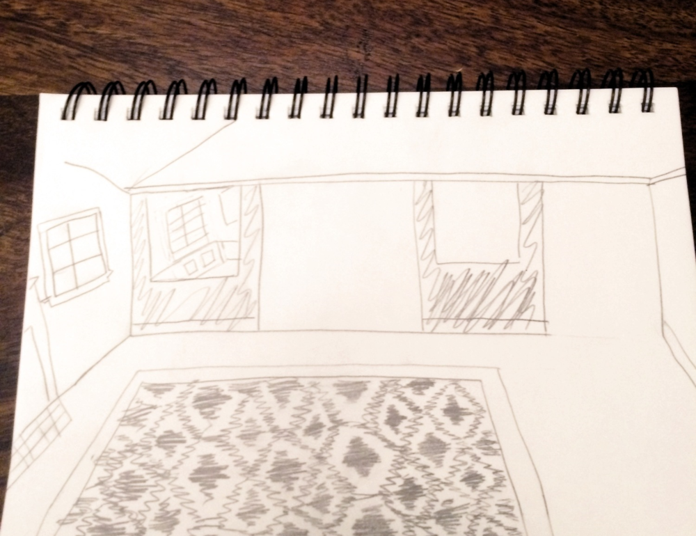 Sketch: wall renovation for an open-floor plan.