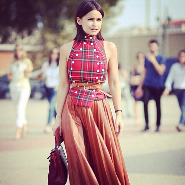Miroslava Duma in A.W.A.K.E. blazer, Paris Fashion Week S/S14.