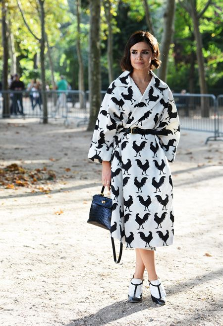 Miroslava Duma wearing A.W.A.K.E. during Paris Fashion Week