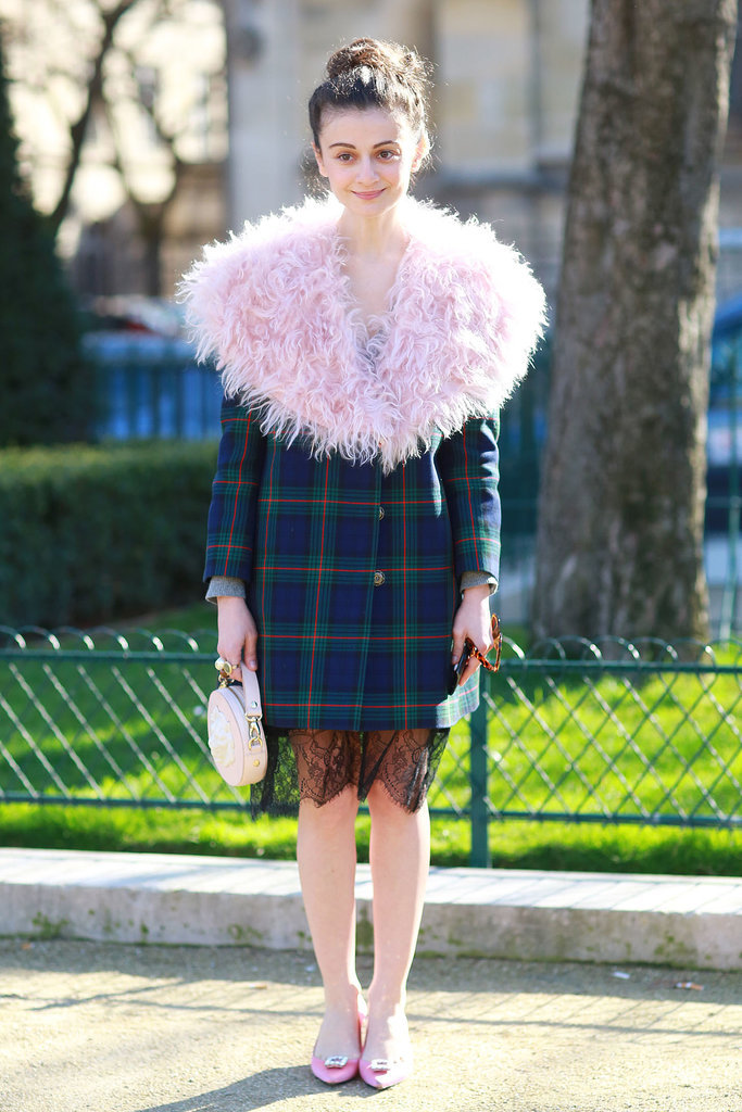 Natalia Alaverdian in A.W.A.K.E. FW14-15 Coat with pink mohair collar.