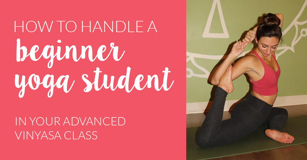 beginner yoga student in advanced class